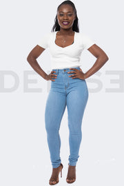 Super Stretchy Jeans Taille Haute - Light Blue