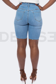 Girl Panther Bermuda Short - Light Blue