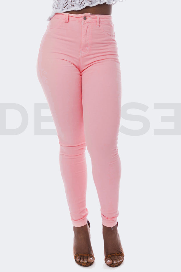 Super Stretchy Jeans Taille Haute - Rose