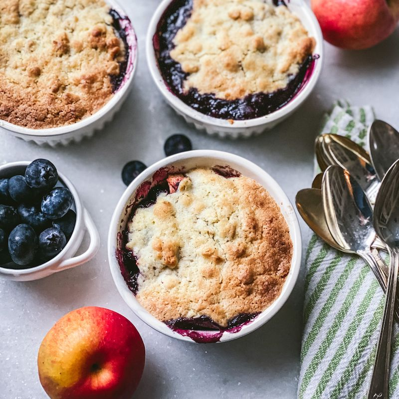 Marcy's petite apple & blueberry cobblers