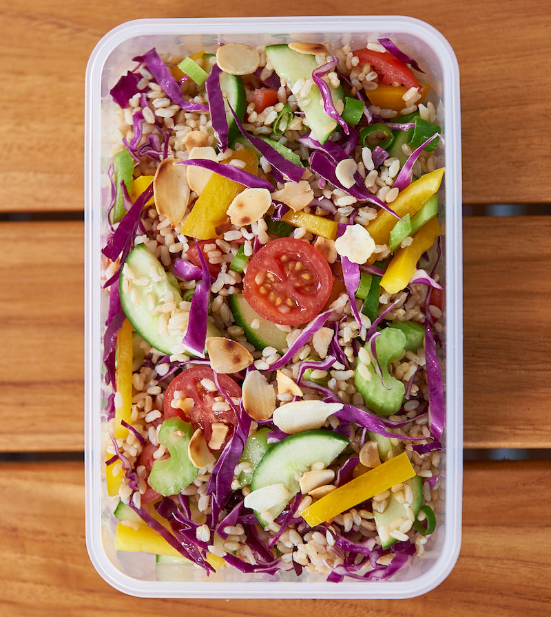 healthy lunch idea - rainbow rice salad