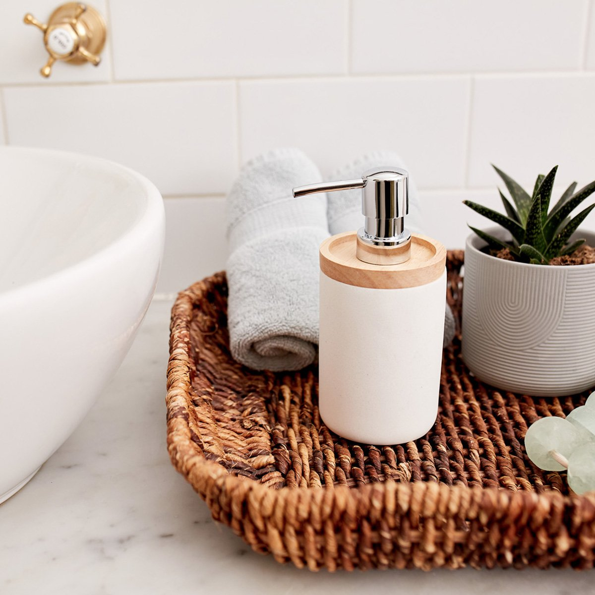 white bamboo soap dispenser