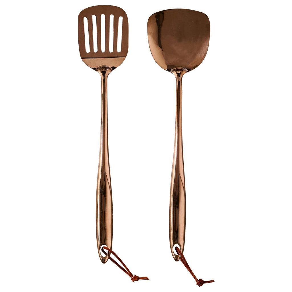 Stainless Steel Lifters - Slotted & Solid Set of 2 Copper