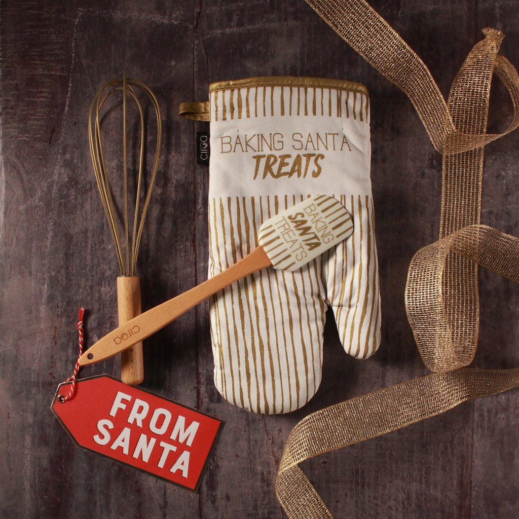 Mitt & Utensil Set - Baking Santa Treats