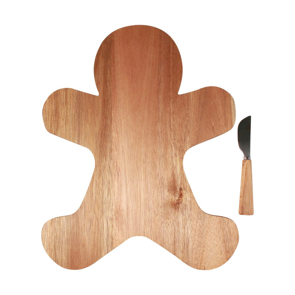 Timber Board and Cheese Spreader Set - Gingerbread Man