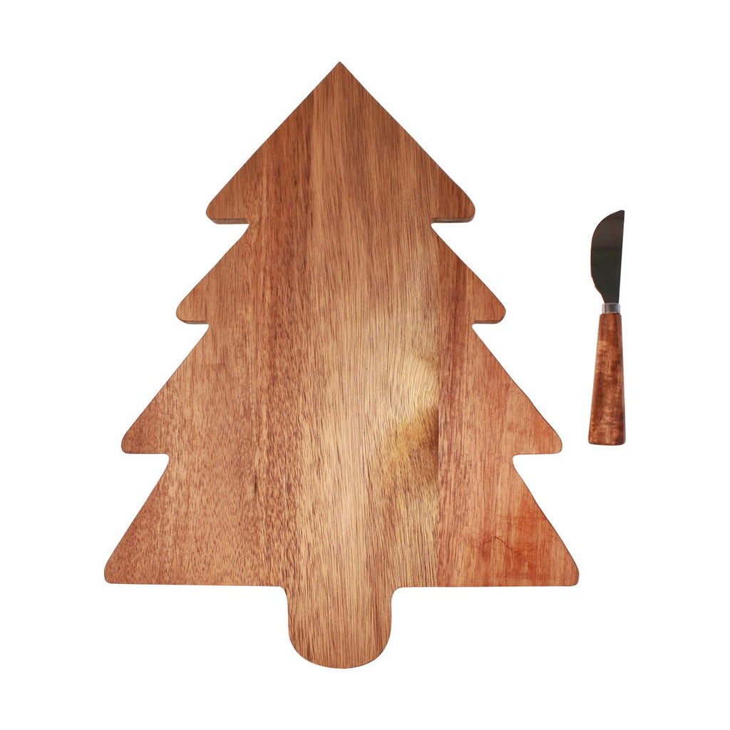 Timber Board and Cheese Spreader Set - Tree