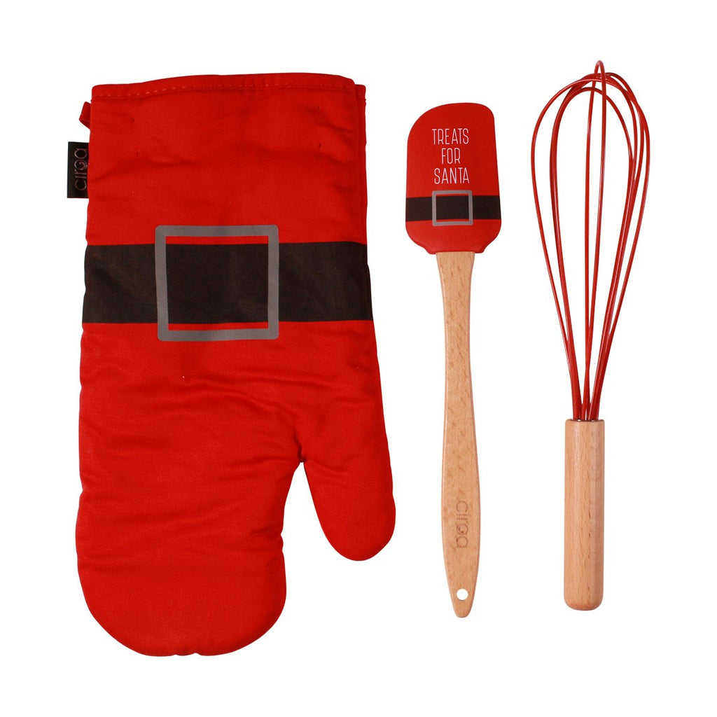 Oven Mitt & Utensil Set - Santa Belt
