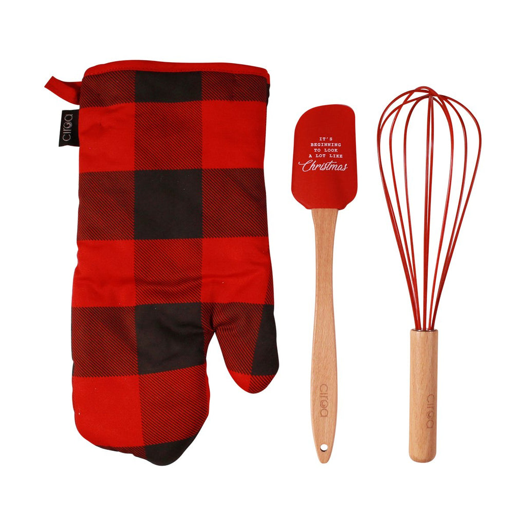 Oven Mitt & Utensil Set - Buffalo Check