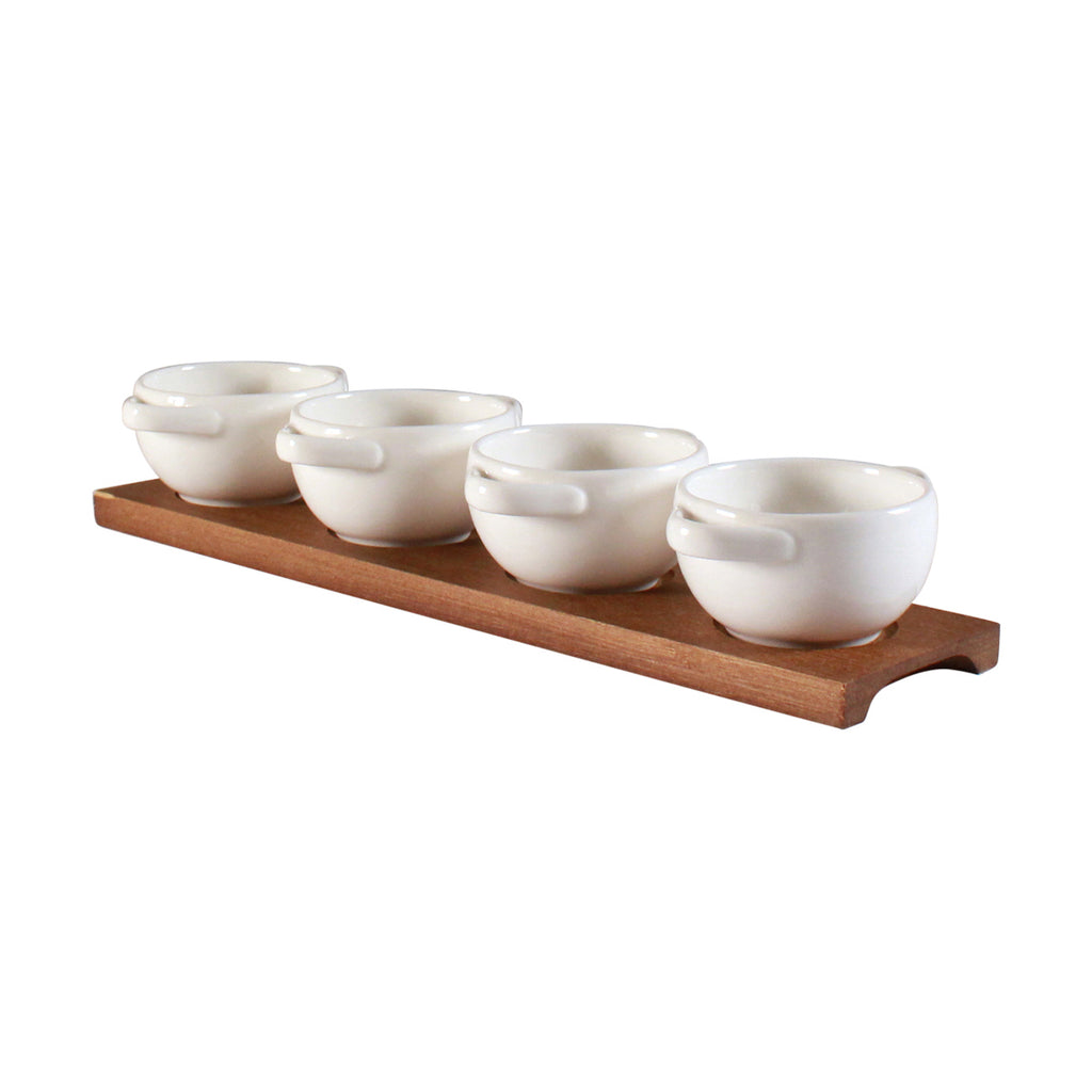 Tapas Bowls on Tray - White Set of 4
