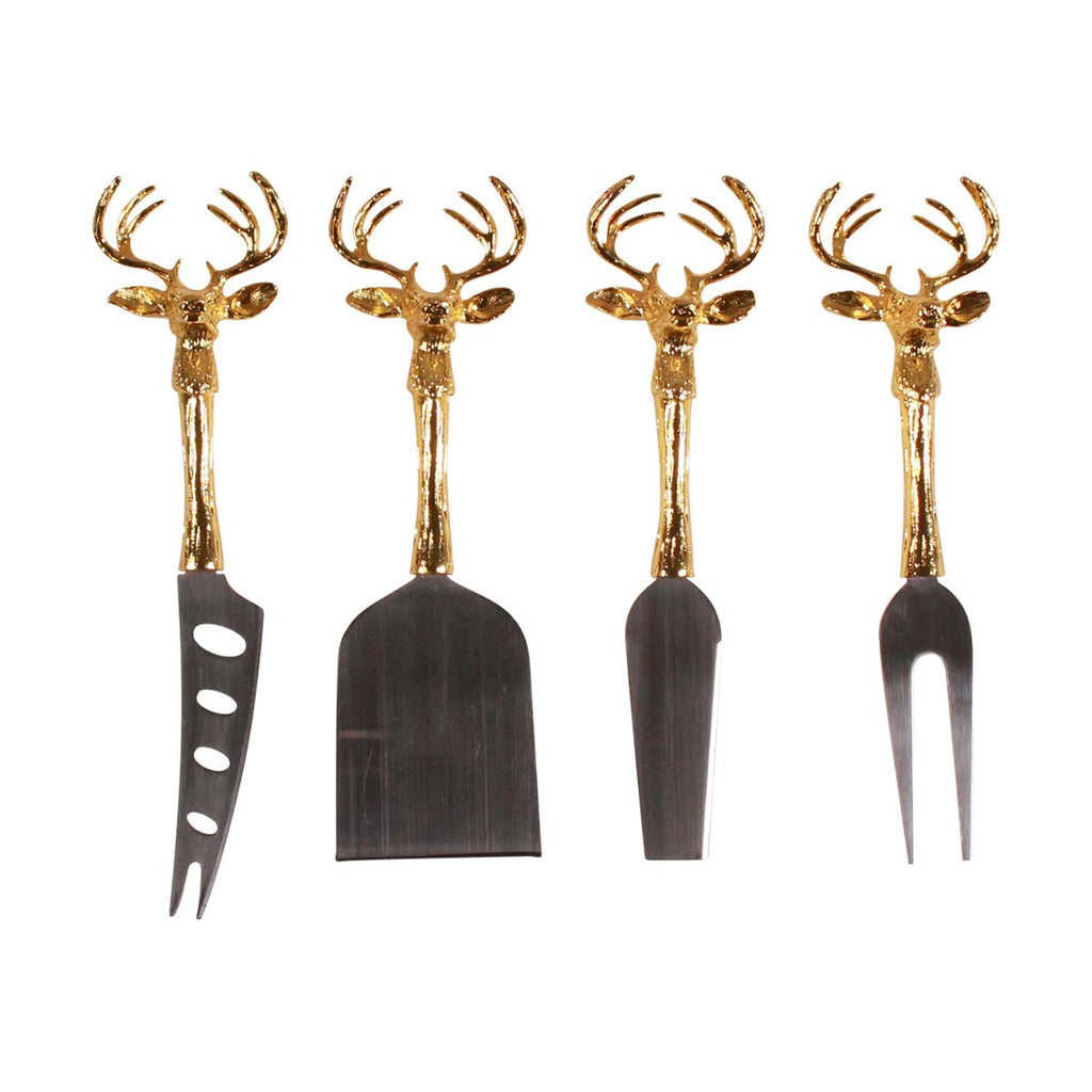 Cheese Knife Set - Gold Stag