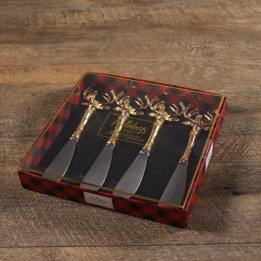 Cheese Spreader Set - Gold Stag