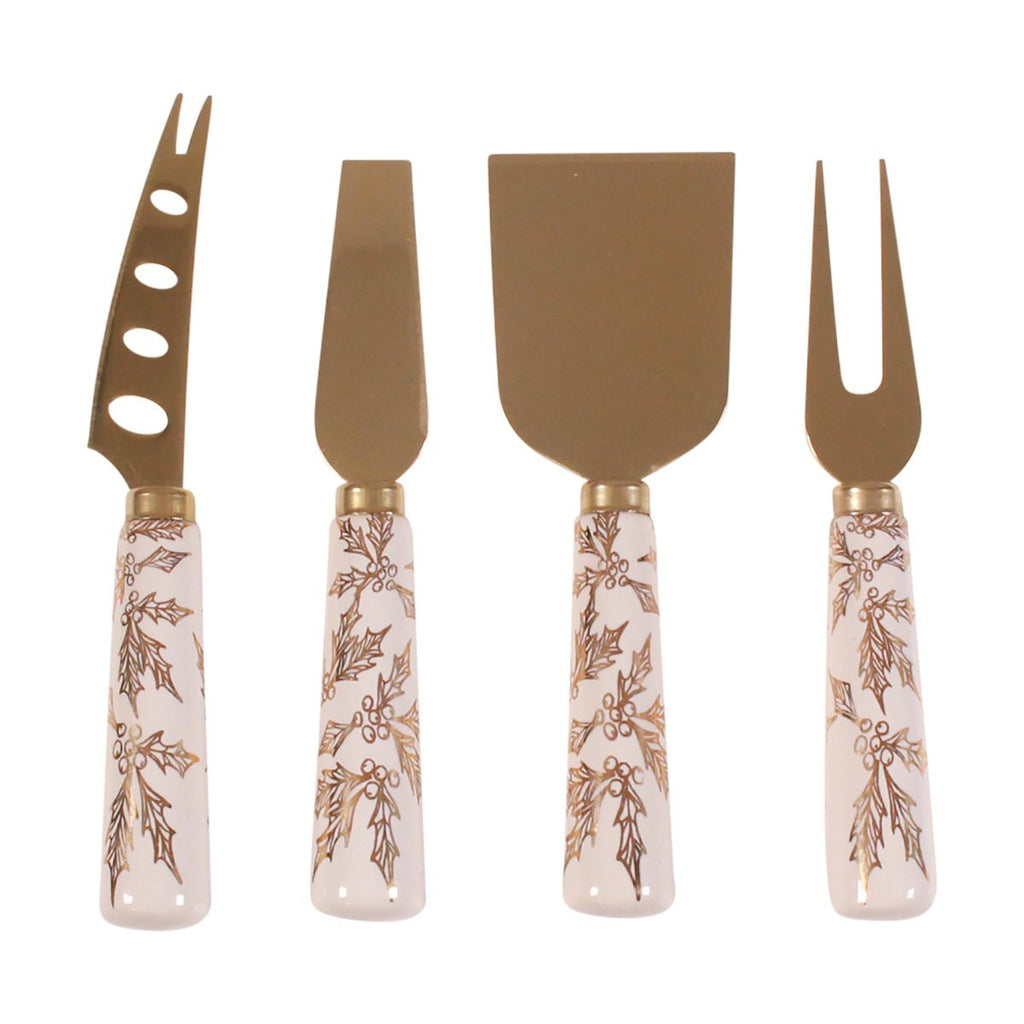 Cheese Knife Set - Gold Holly