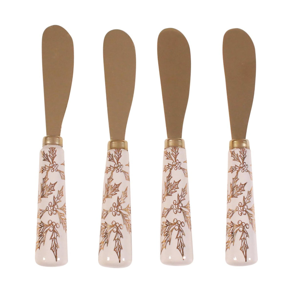 Cheese Spreader Set - Gold Holly