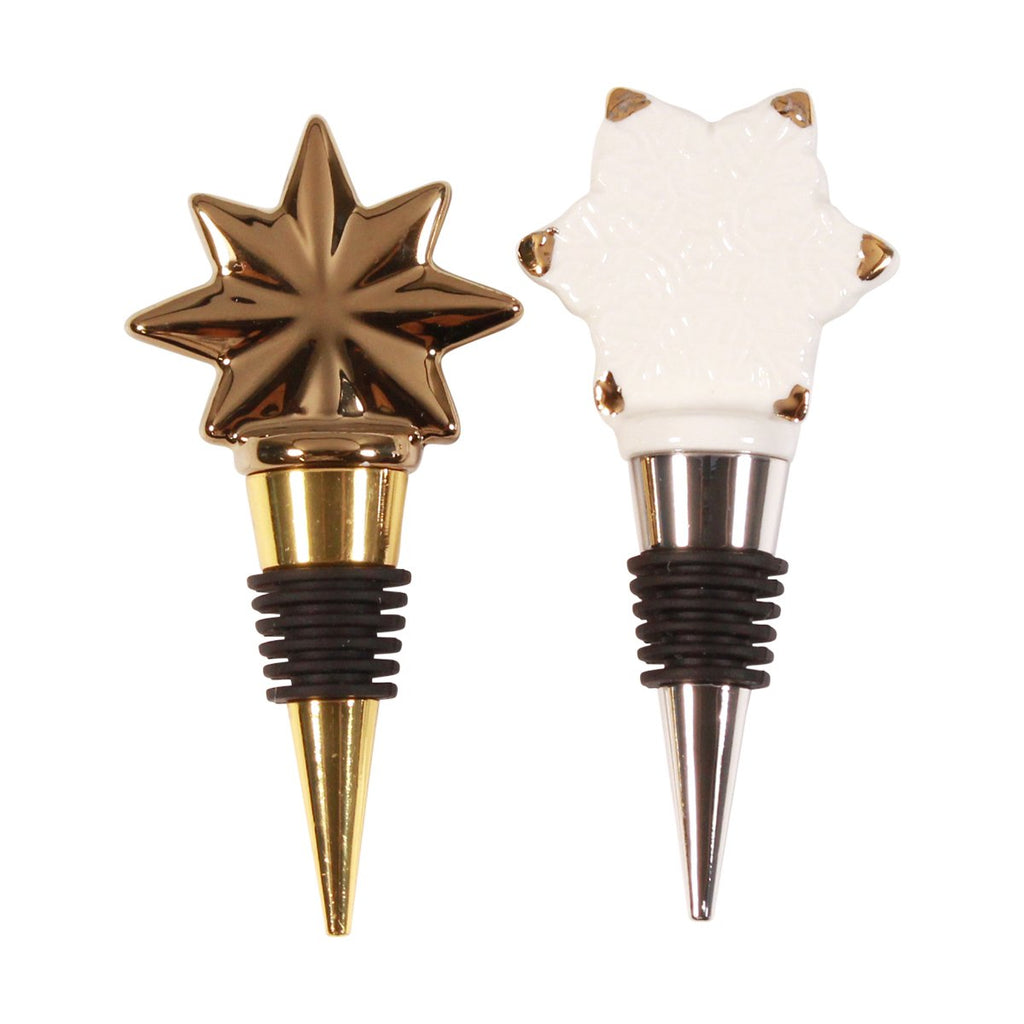 Bottle Stoppers - Set of 2 Star & Snowflake