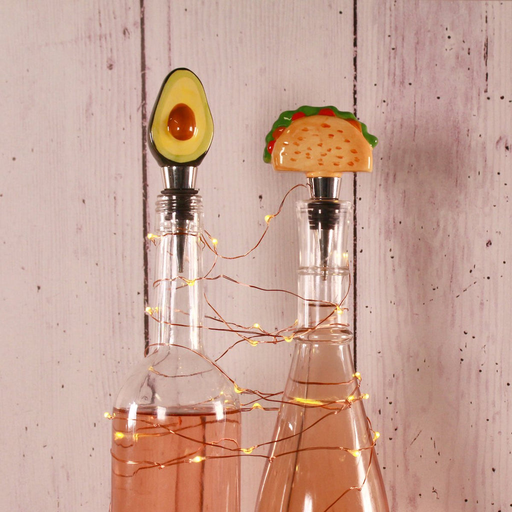 Bottle Stoppers - Set of 2 Avocado and Taco