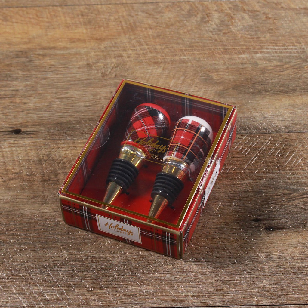 Bottle Stoppers - Set of 2 Plaid Red