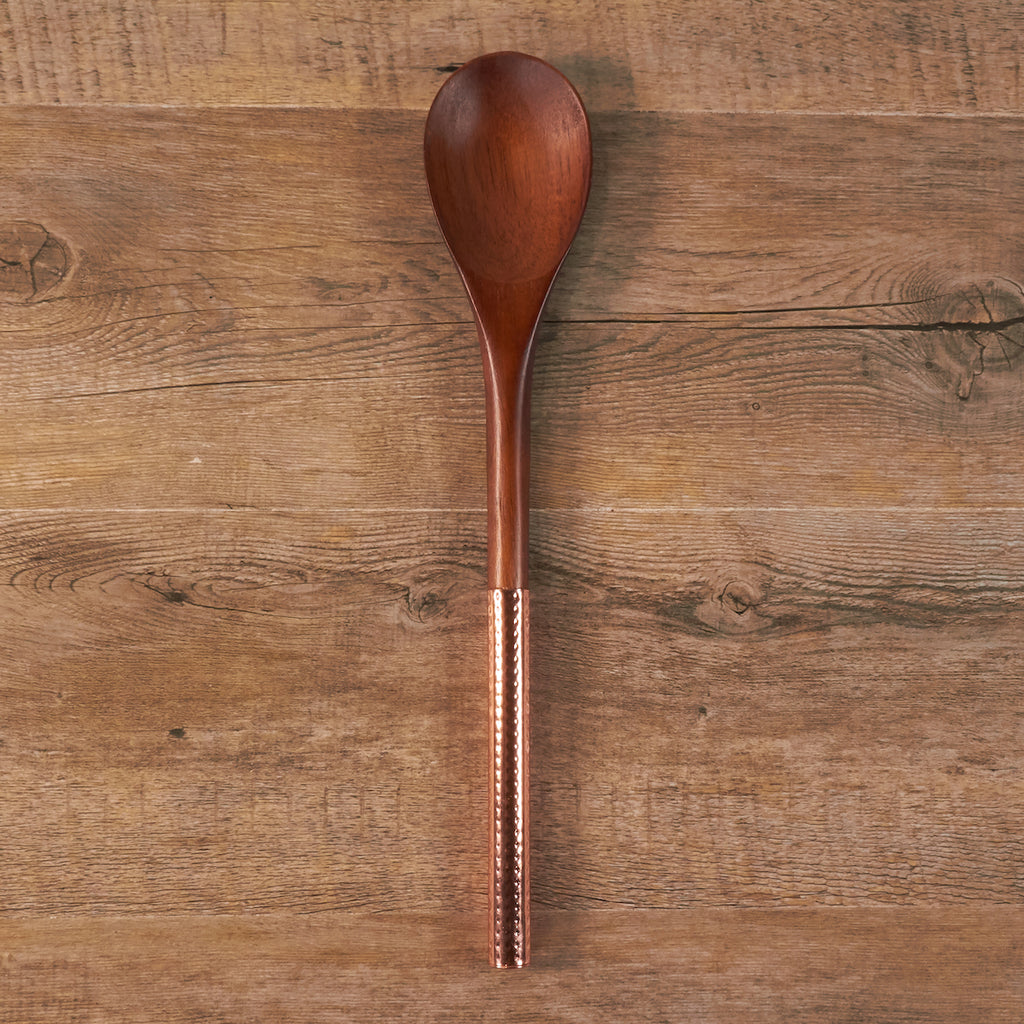 Walnut and Copper Solid Spoon