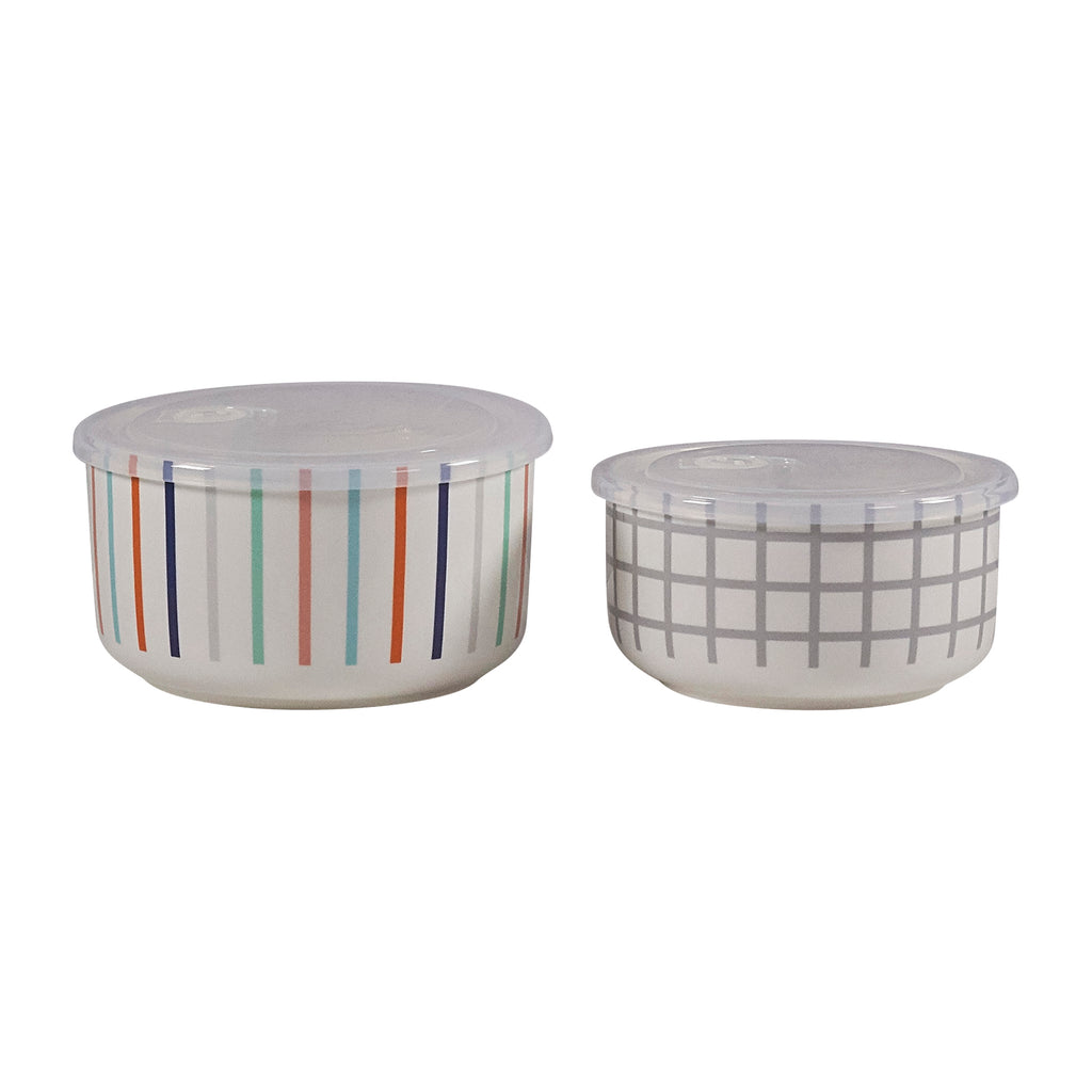Microwave Me Bowls Set of 2 - Stripe & Grid
