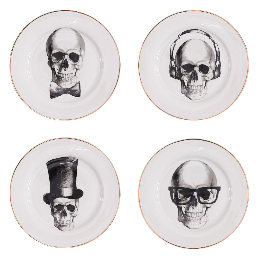 Salad Plates Set of 4 - Going Out Skulls