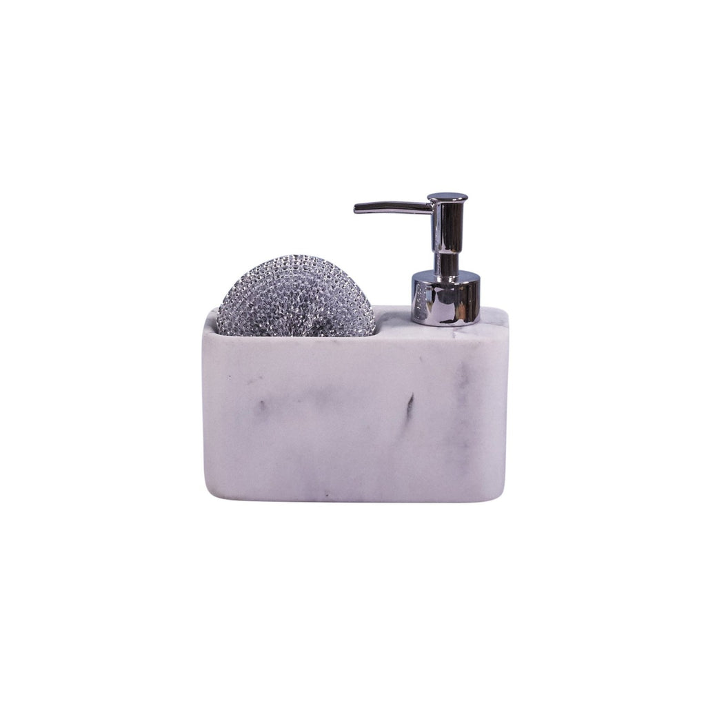 Soap & Sponge Set - White Marble