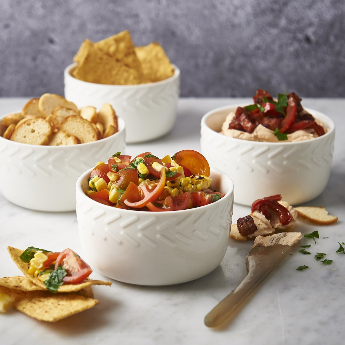8.5oz Ramekins by CIROA Dips and Condiments Set of 4 Bowls for Baking Snacks