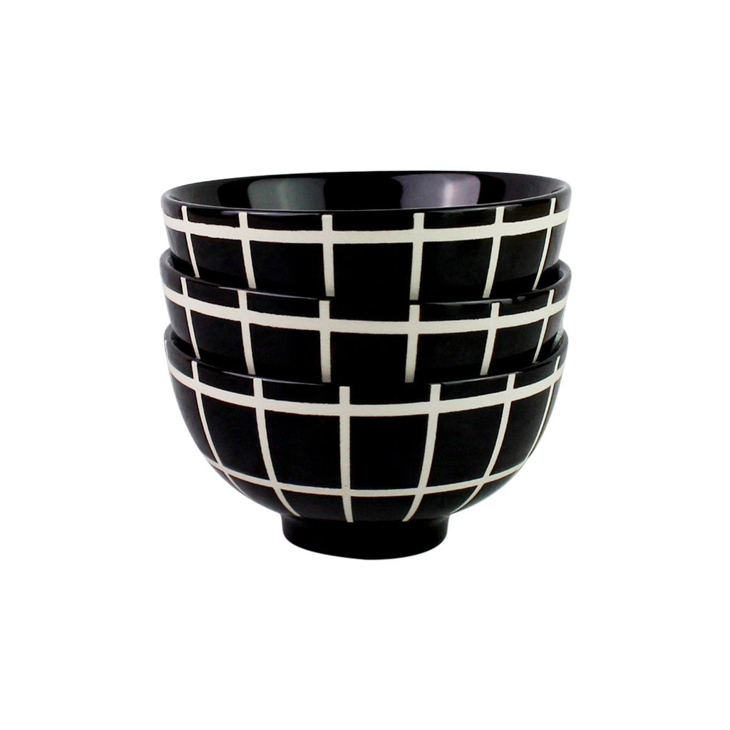 Black Grid Print Appetizer Bowls - Set of 3