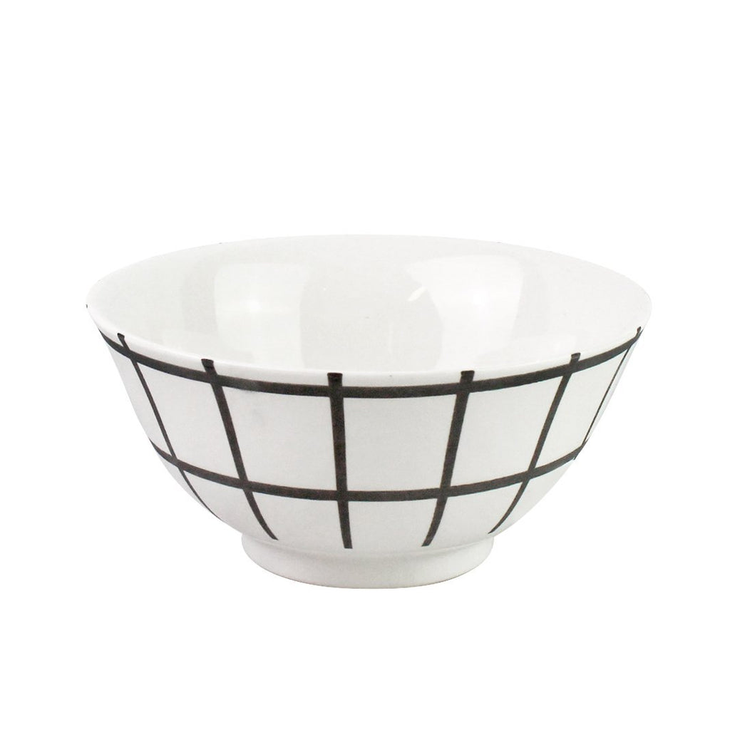 Rice Bowl - White Grid Print