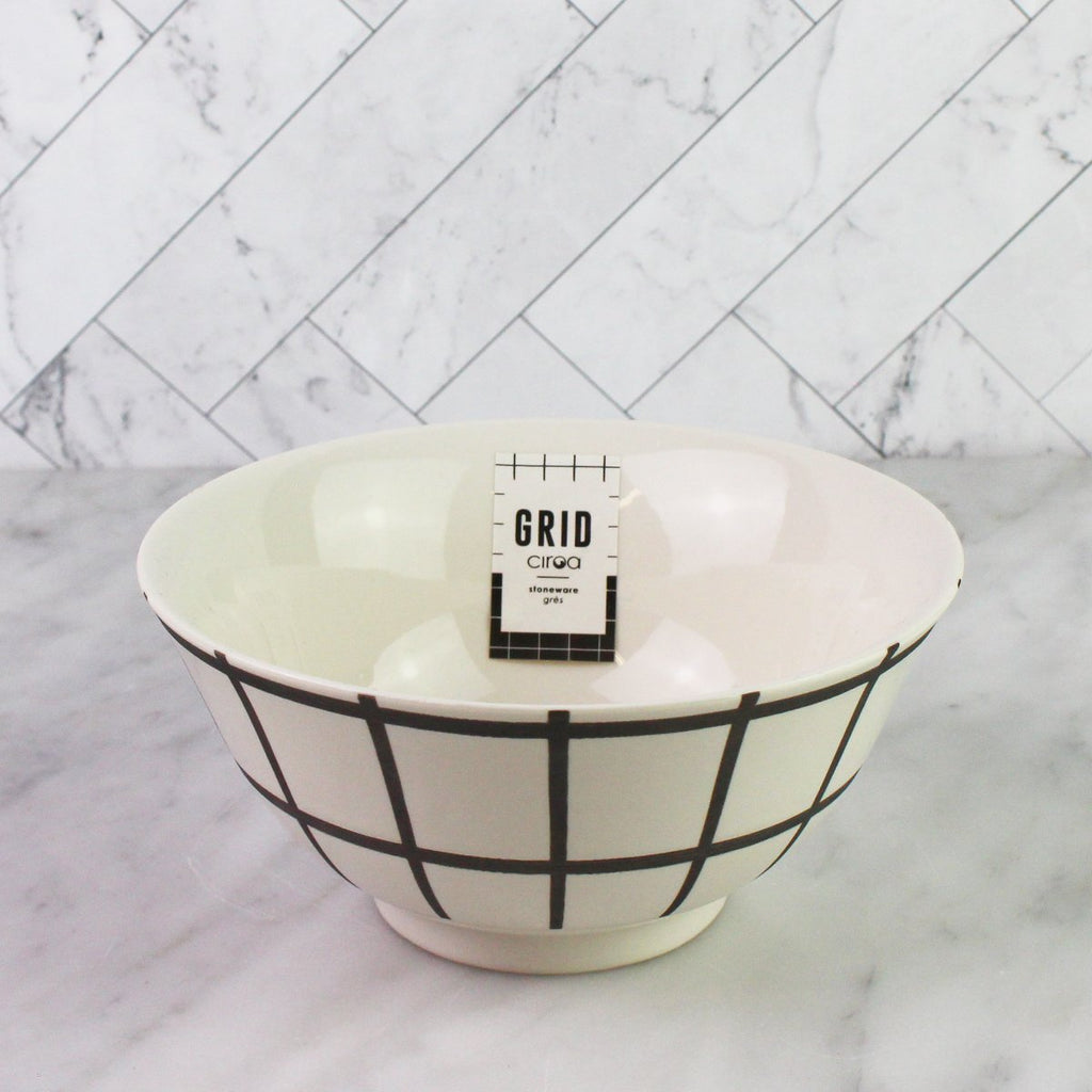 White Grid Rice Bowl