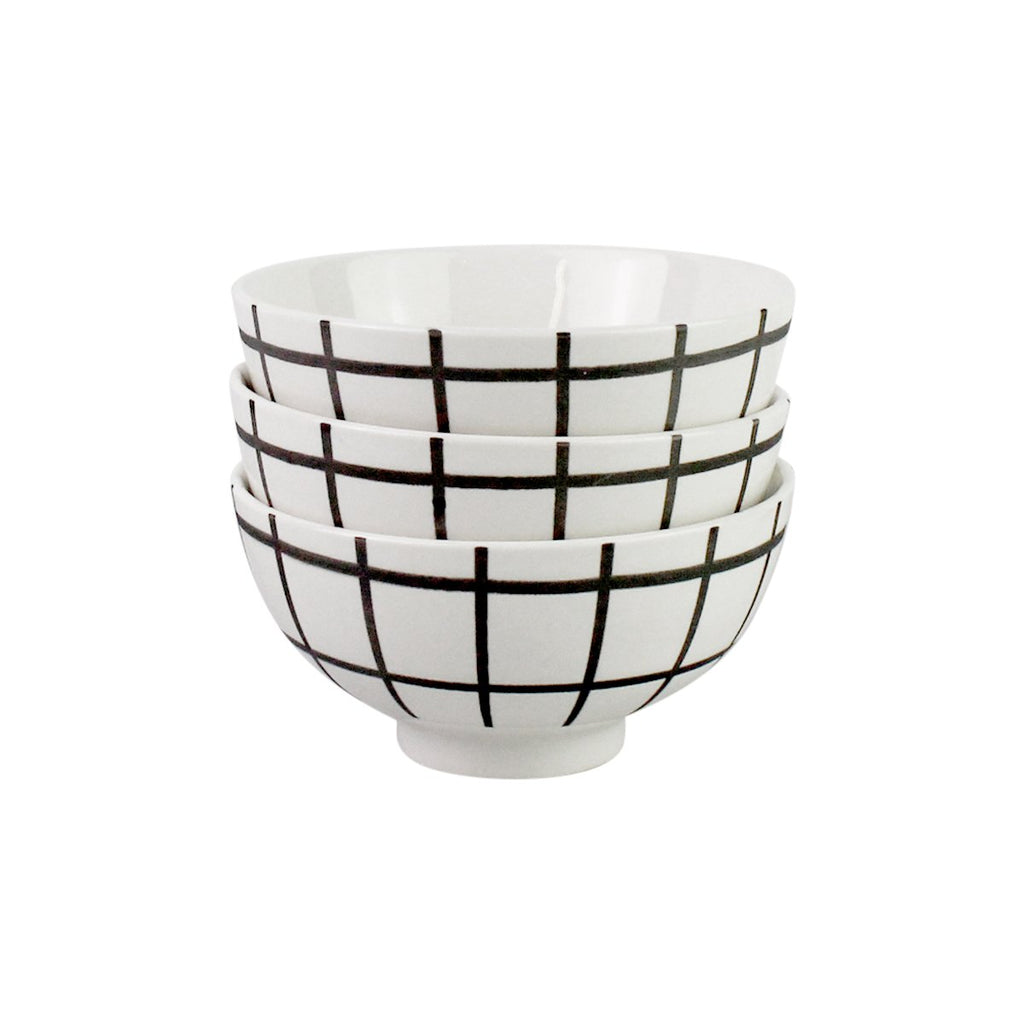 Appetizer Bowls - Set of 3 White Grid Print