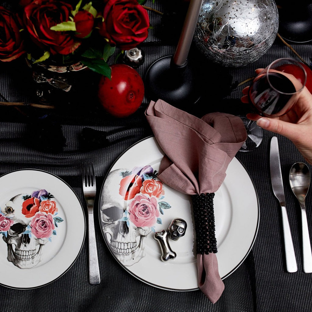 Salad Plates Set of 4 - Floral Skull