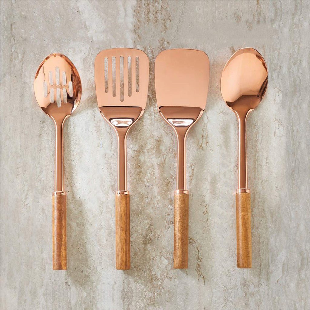 Rose Gold and Acacia Utensil Set - 4 Piece