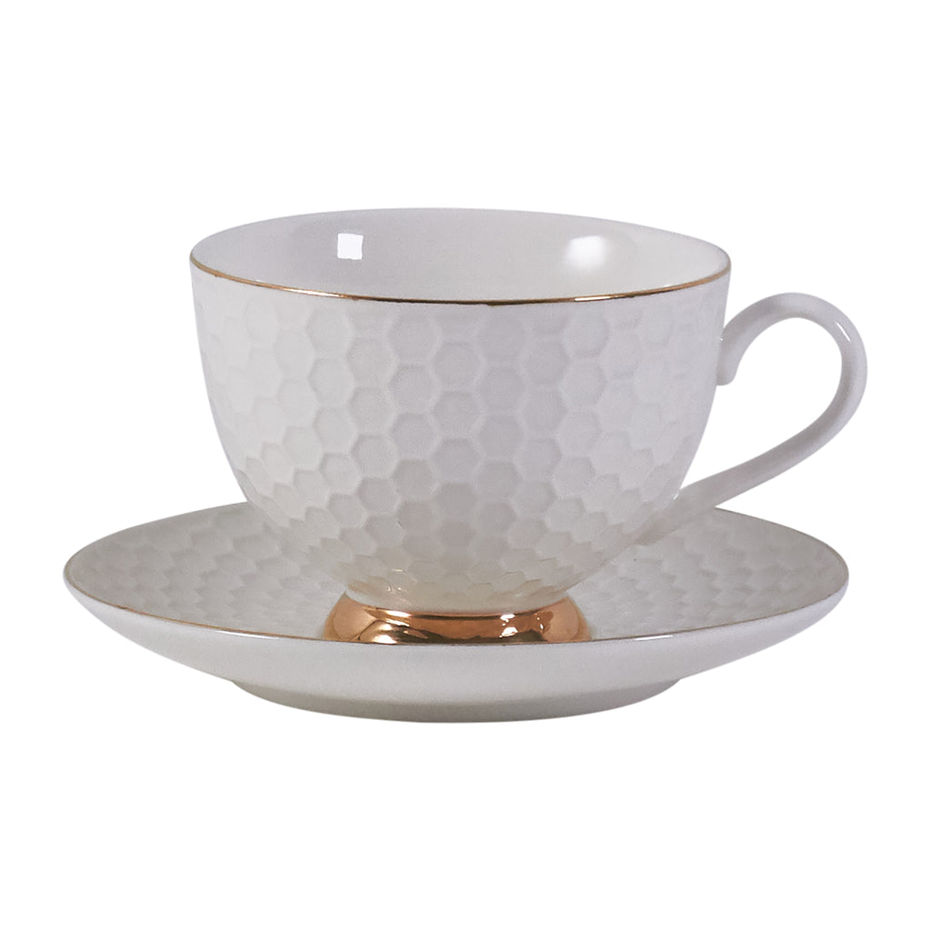 Teacup & Saucer Set - White Honeycomb