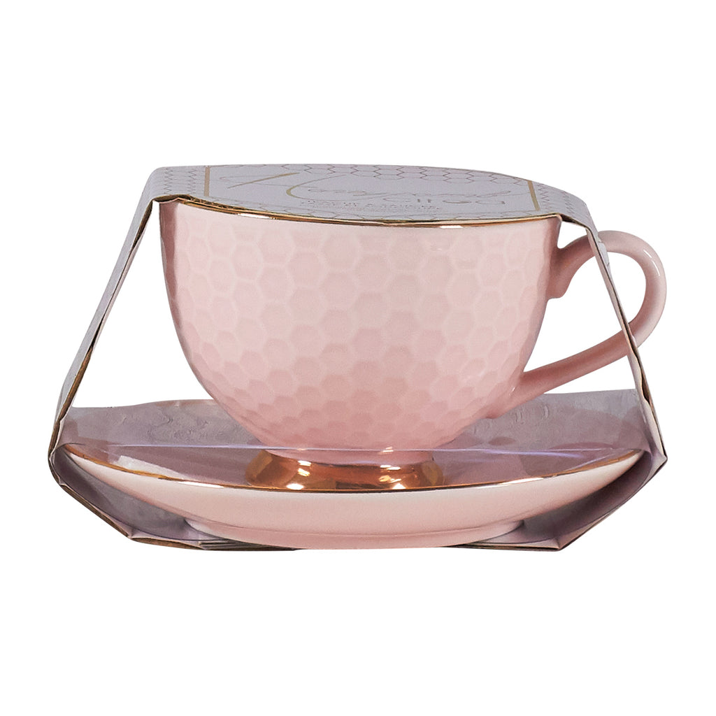 Teacup & Saucer Set - Pink Honeycomb