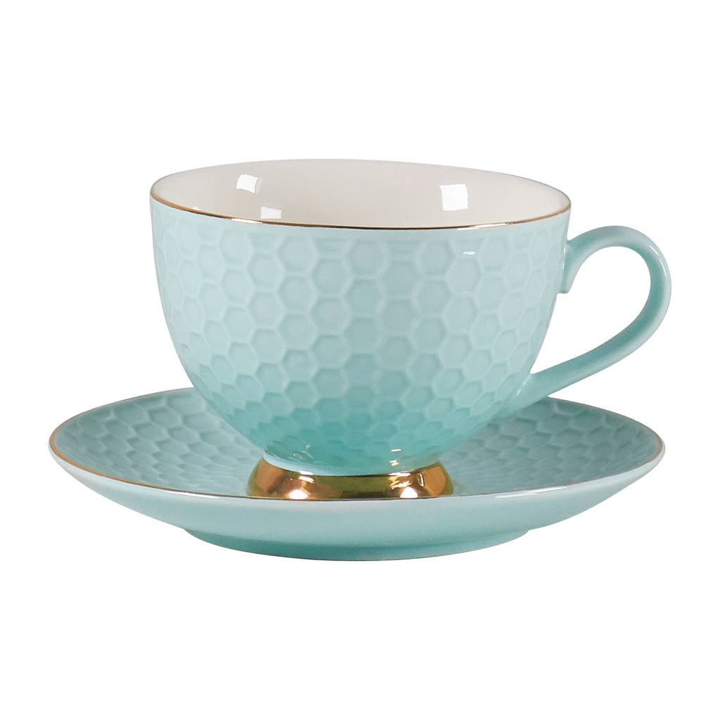 Teacup & Saucer Set - Seafoam Honeycomb