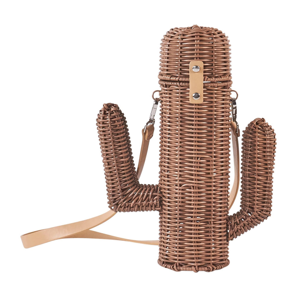 Resin Wicker Wine Carrier - Brown Cactus