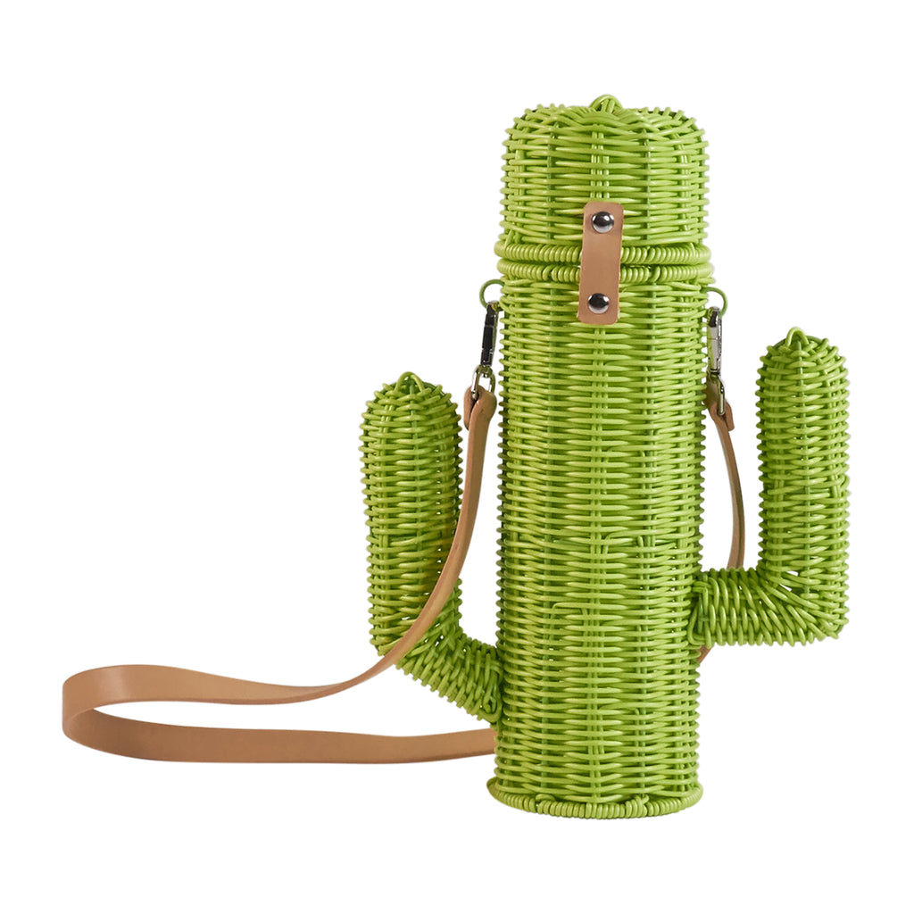 Resin Wicker Wine Carrier - Green Cactus