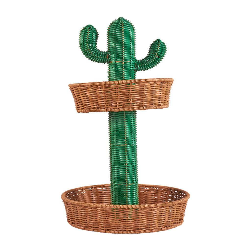 Resin Wicker Two Tier Platter - Cactus