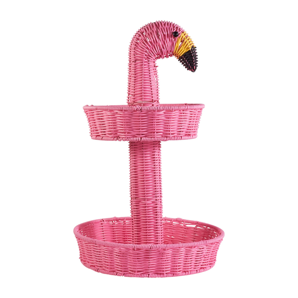Resin Wicker Two Tier Platter - Flamingo