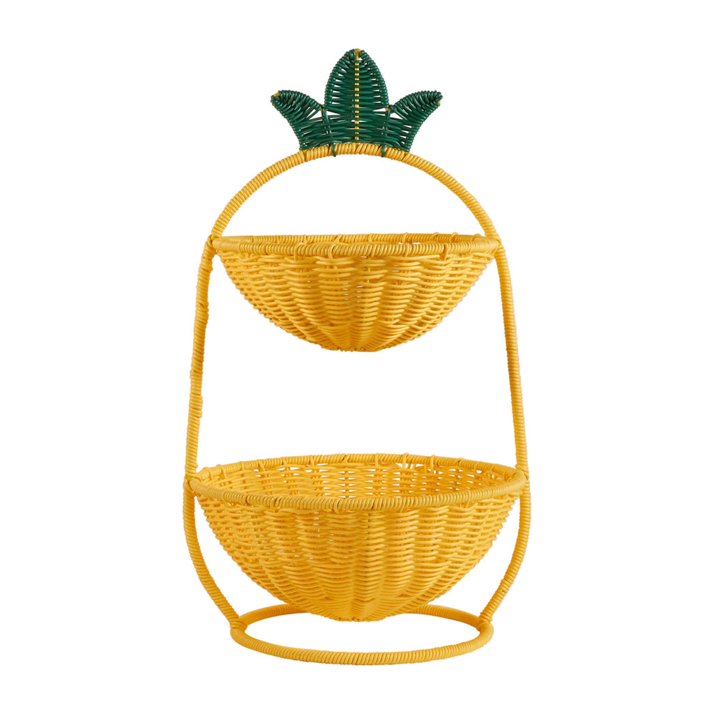 Resin Wicker Two Tier Bowl - Pineapple