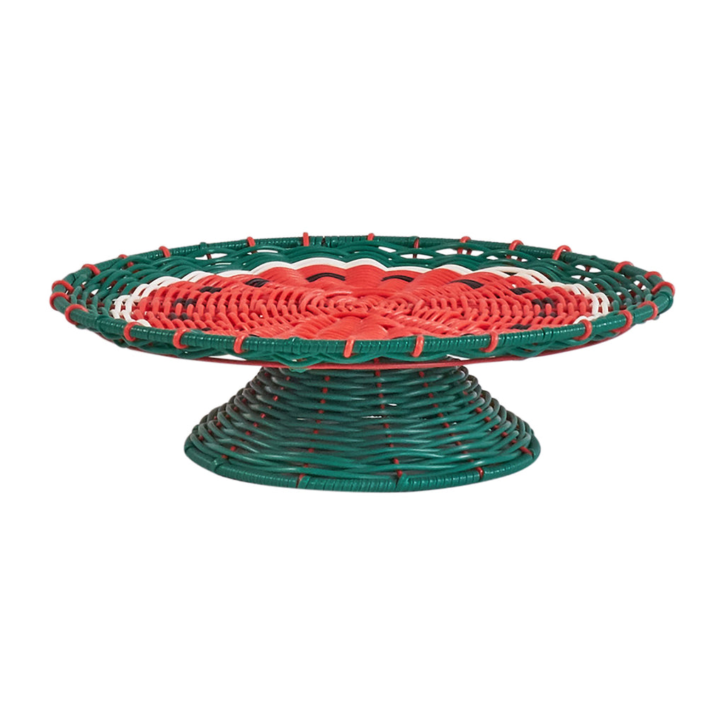 Resin Wicker Cake Stand - Watermelon