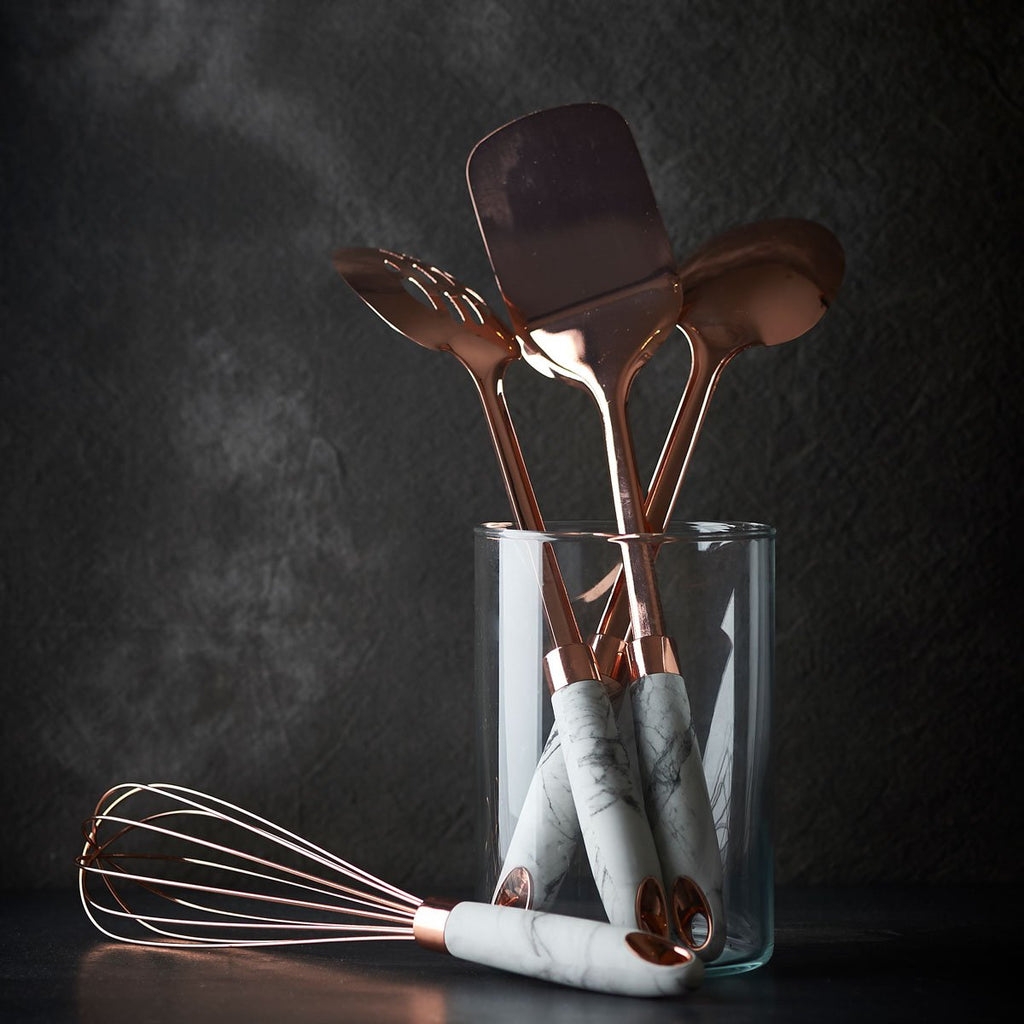 Rose Gold Finish and Soft-Touch Marble Whisk