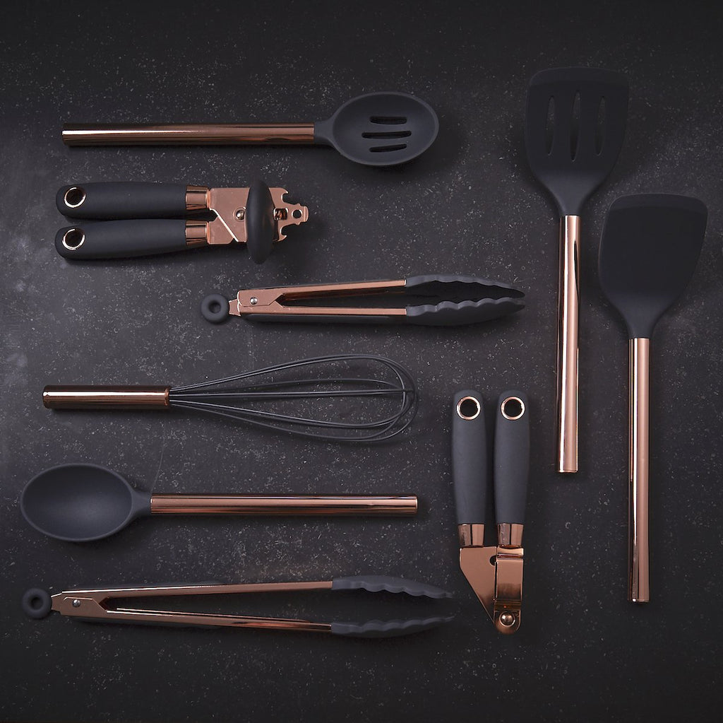 Tongs Set - Rose Gold Finish and Silicone