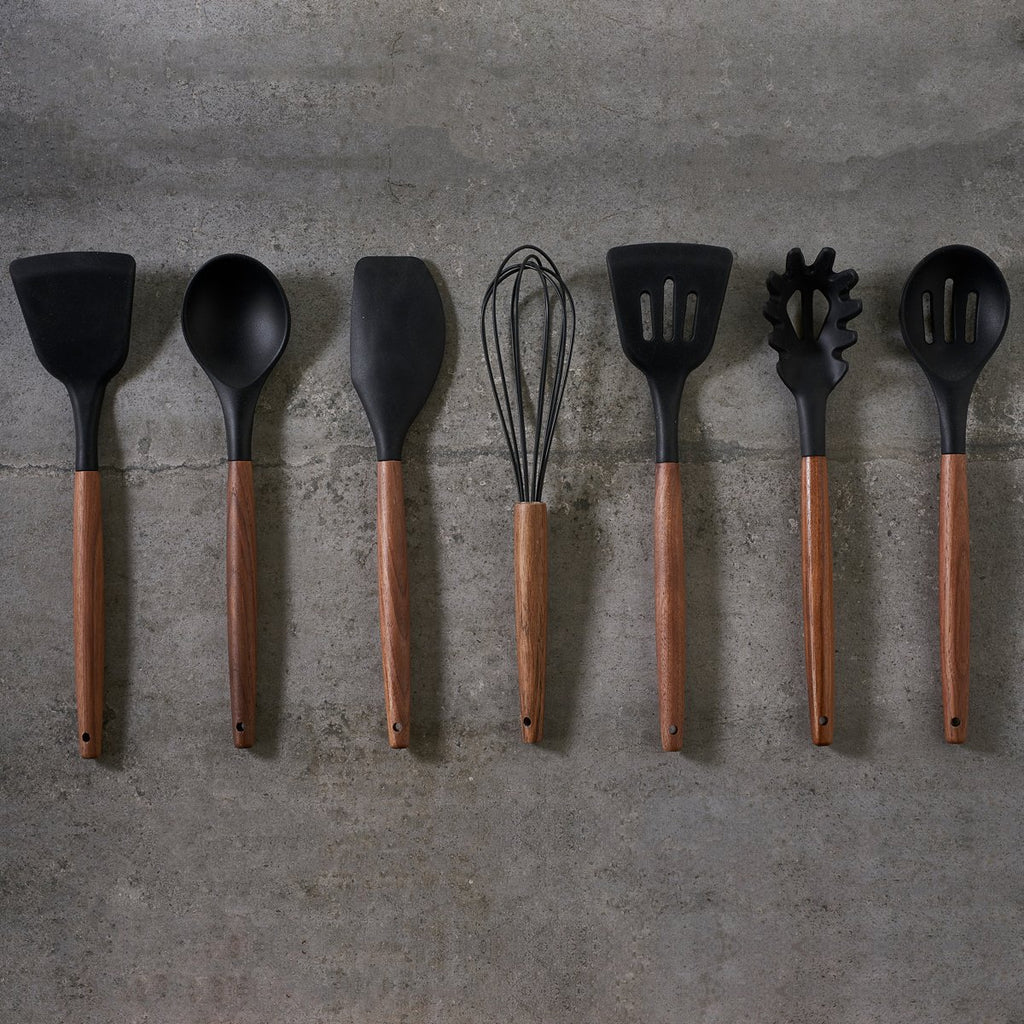Walnut and Black Silicone Utensil Set