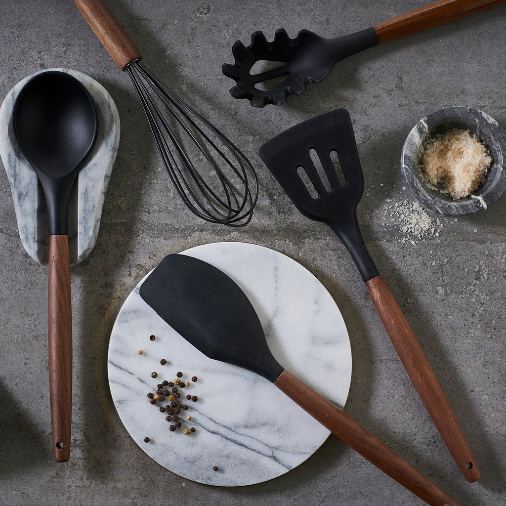 Walnut and Black Silicone Spaghetti Spoon