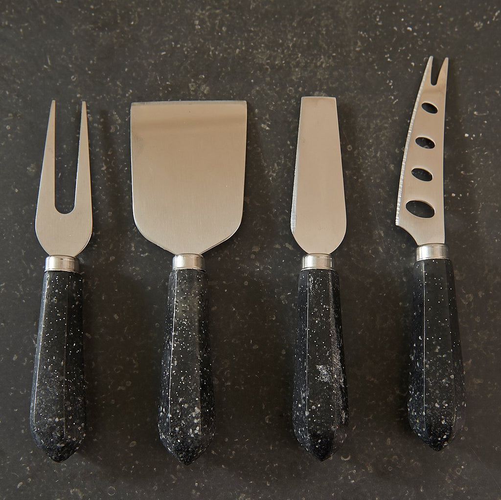 Faux Granite Faceted Cheese Knife Set