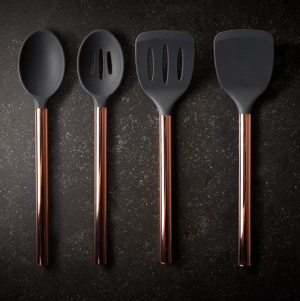 Rose Gold Finish and Silicone Utensil Set