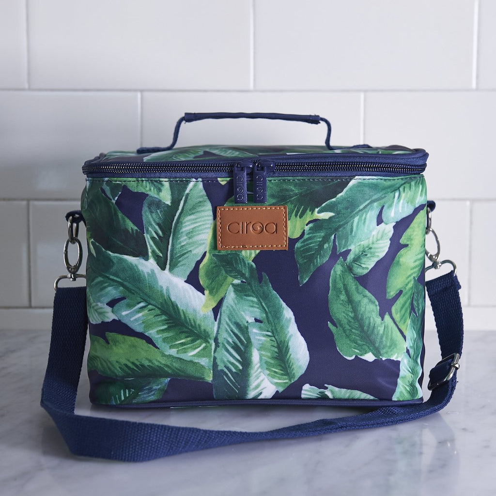 Navy Palm Lunch Bag