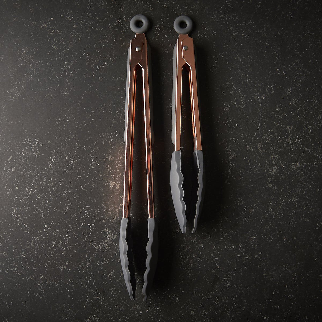 Rose Gold Finish and Silicone Tongs Set