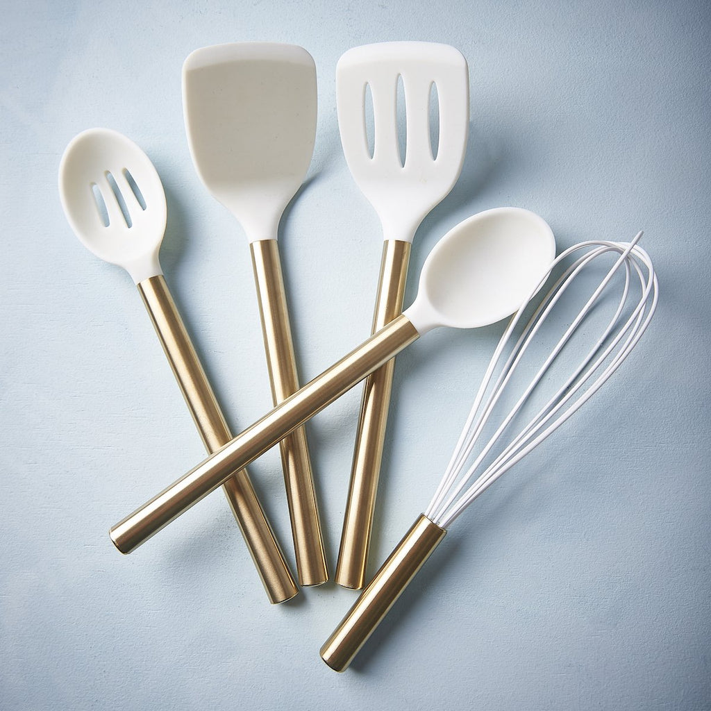 Utensil Set - White Silicone & Gold