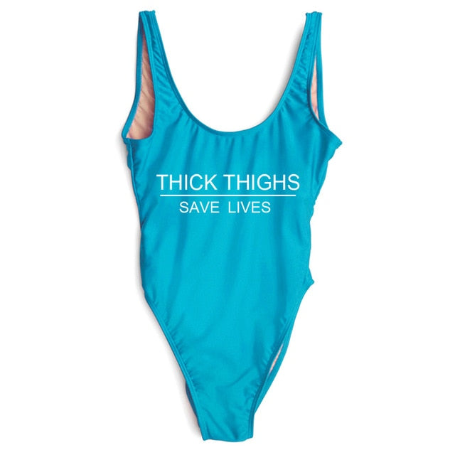 THICK THIGHS SAVE LIVES One Piece Swimsuit Summer Swimwear Women Plus Size Sexy Bodysuit High Cut Bathing Suit maillot de bain